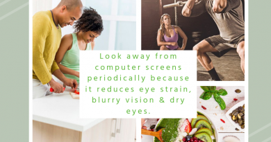 look away from computer screens periodically because it reduces eye strain, blurry vision & dry eyes.