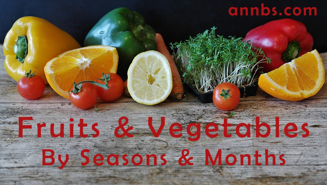 The Fruits and Vegetables - By Seasons and Months