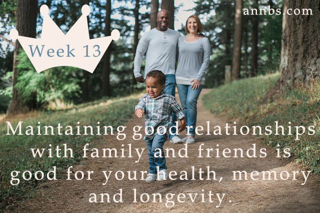 Maintaining good relationships with family and friends is good for your health, memory and longevity.