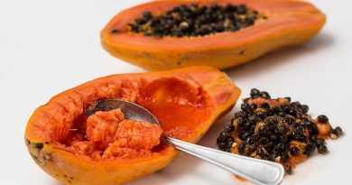 seeds scraped out from fresh papayas